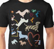 dachshund dog. love. pattern Unisex T-Shirt