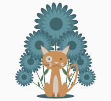 Cat in the Flowerfield Kids Tee