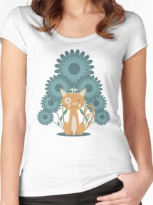 Cat in the Flowerfield Women's Fitted Scoop T-Shirt