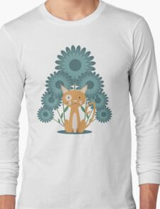 Cat in the Flowerfield Long Sleeve T-Shirt
