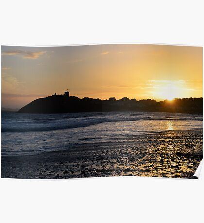 Sunset over Criccieth Castle Poster