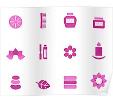 Collection of wellness and spa icons Poster