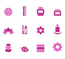 Collection of wellness and spa icons Photographic Print