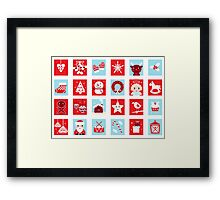 Christmas icons and design elements - red and blue Framed Print