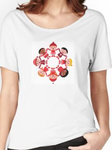 Cute winter kids in circle Women's Relaxed Fit T-Shirt