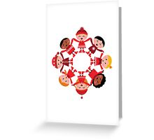 Cute winter kids in circle Greeting Card