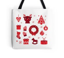 Red retro xmas items and elements ( red ) Tote Bag
