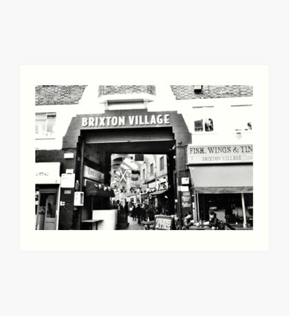 Brixton Village Entrance - Black and White Art Print