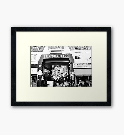 Brixton Village Entrance - Black and White Framed Print