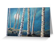 Silver Birch Moon Greeting Card
