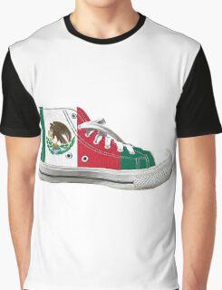 Hi Top Mexico Basketball Shoe Flag Graphic T-Shirt