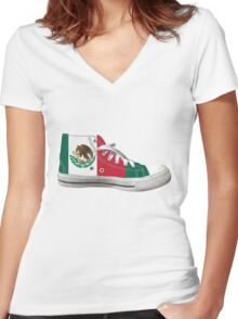 Hi Top Mexico Basketball Shoe Flag Women's Fitted V-Neck T-Shirt