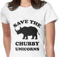 save the chubby unicorns Womens Fitted T-Shirt