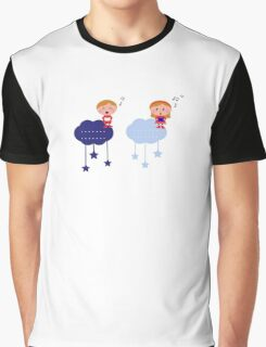 Cute christmas cloudy labels with caroling kids Graphic T-Shirt