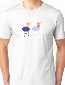 Cute christmas cloudy labels with caroling kids Unisex T-Shirt