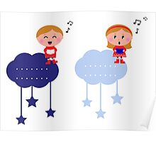 Cute christmas cloudy labels with caroling kids Poster