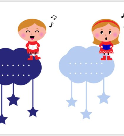 Cute christmas cloudy labels with caroling kids Sticker