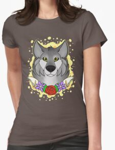Floral Wolf Womens Fitted T-Shirt