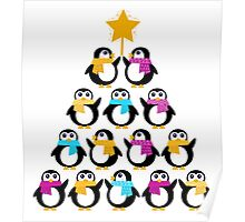 Penguins standing in pyramid - cute Penguins making triangle Poster