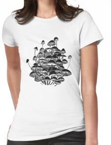 black mushrooms Womens Fitted T-Shirt
