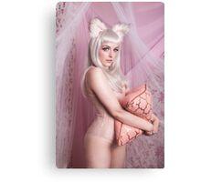 White Cat Girl Cute Canvas Print