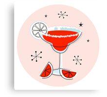 Margarita drink in hand drawn retro style Canvas Print