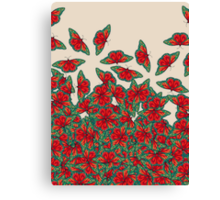 Ruby & Emerald Butterfly Dance - red, teal & green butterflies on cream Canvas Print
