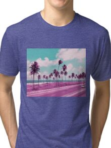 Vaporwave Sea Side Road Tri-blend T-Shirt