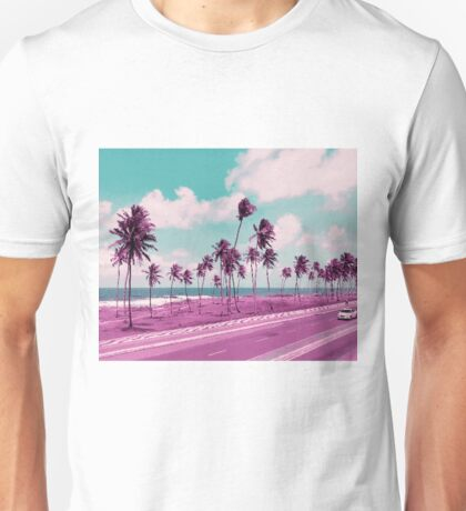Vaporwave Sea Side Road Unisex T-Shirt