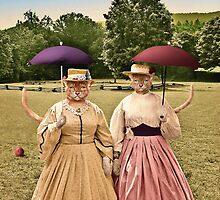 Two Pretty Kitties: Out for a Stroll by PETER GROSS
