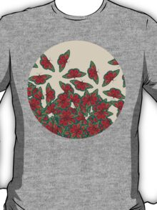 Ruby & Emerald Butterfly Dance - red, teal & green butterflies on cream T-Shirt