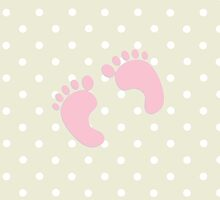 Baby Footprints (Footsteps) - Pale Pink by sitnica