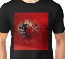Jamie & Claire (red dress)in red swirls and light. Unisex T-Shirt