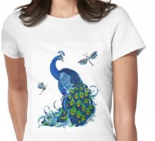 Peacock and Dragonfly Design Womens Fitted T-Shirt