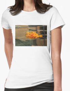 Jewel Drops - Orange Chrysanthemum Bloom Floating in a Fountain Womens Fitted T-Shirt