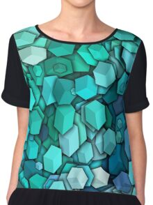 Graphic Boxes, Light Blue (Wallpaper, Background) Chiffon Top