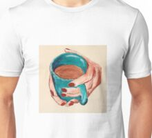 Hands Around A Mug Contemporary Acrylic On Paper Painting Unisex T-Shirt