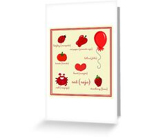 Colors: red (Los colores: rojo) Greeting Card