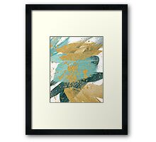 Emerald green abstract brush painting Framed Print
