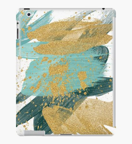 Emerald green abstract brush painting iPad Case/Skin