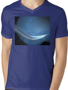 Blue Space Curve Mens V-Neck T-Shirt