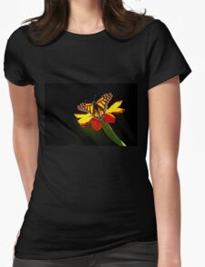 Monarch And Tithonia Light And Shadow Womens Fitted T-Shirt