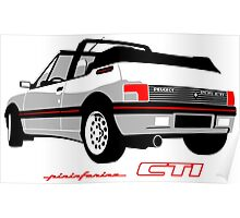 Peugeot 205 CTI cabriolet white Poster