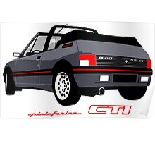 Peugeot 205 CTI cabriolet grey Poster