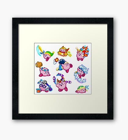 Kirby Abilities Sticker Sheet Framed Print