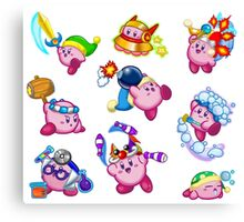 Kirby Abilities Sticker Sheet Canvas Print