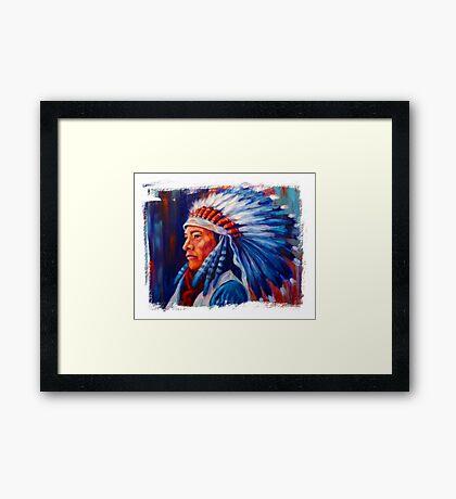 Native American Chief Oil Splash Framed Print