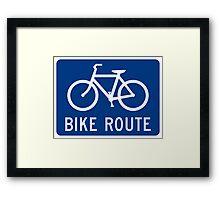 Bike Route Sign Framed Print