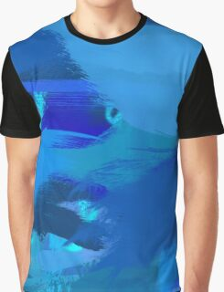 Blue Brush Strokes Graphic T-Shirt