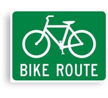 Bike Route Sign Canvas Print